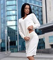 Костюм юбка карандаш и кофта вязка шерсть 50%, белый, фото 1