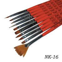 Набор кистей 10шт для рисования красная ручка