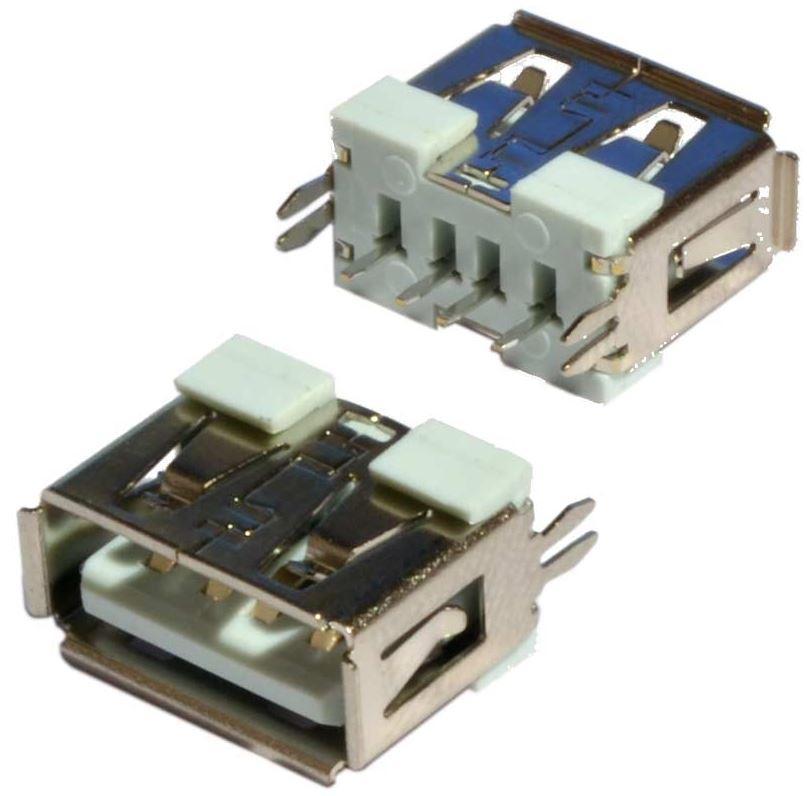 Гнездо USB-A вертикальное короткое. USB Гнездо (разъем) мама, Штекер USB разъем, Контакты 180 градусов. 1 шт