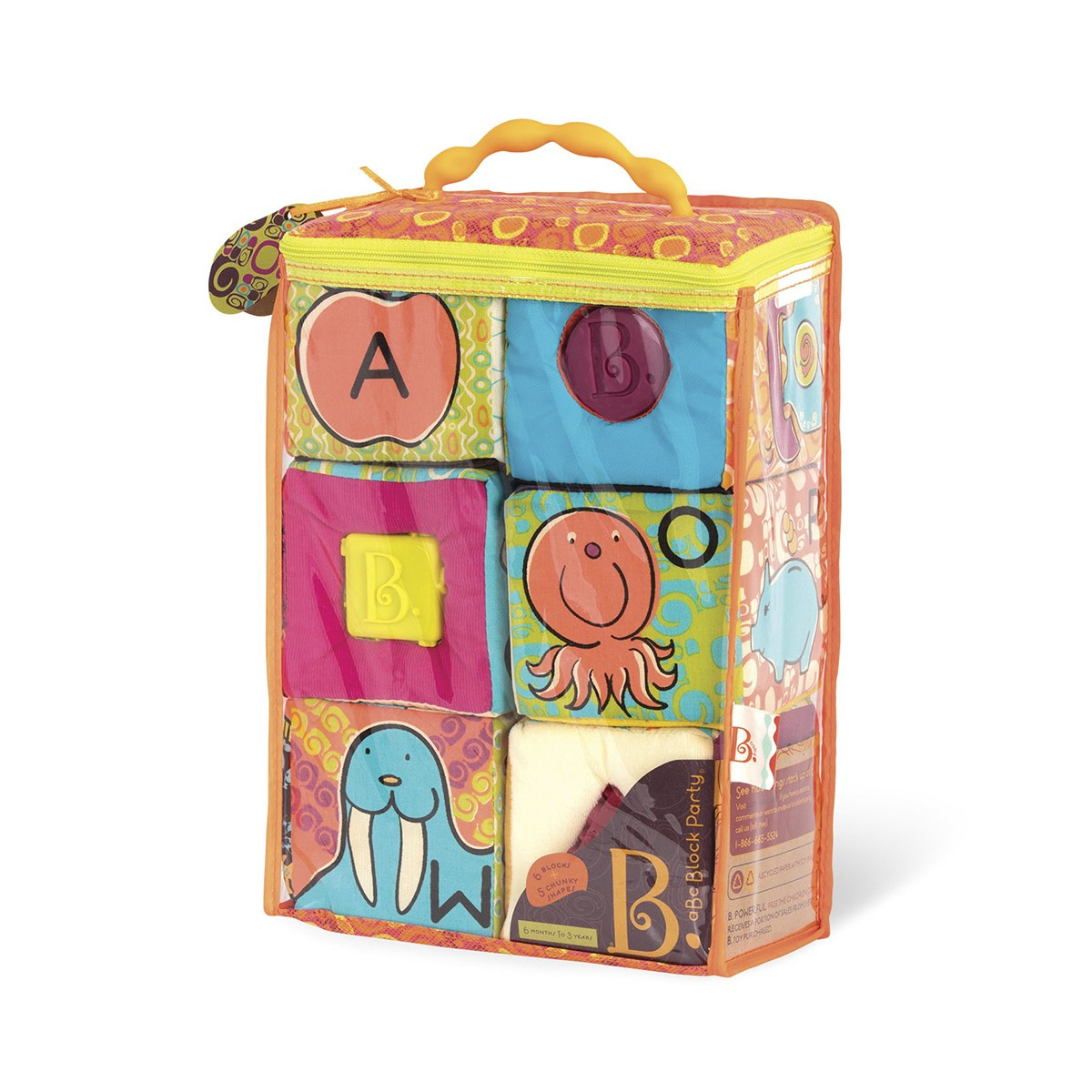 Battat - Развивающие мягкие кубики-сортеры - ABC