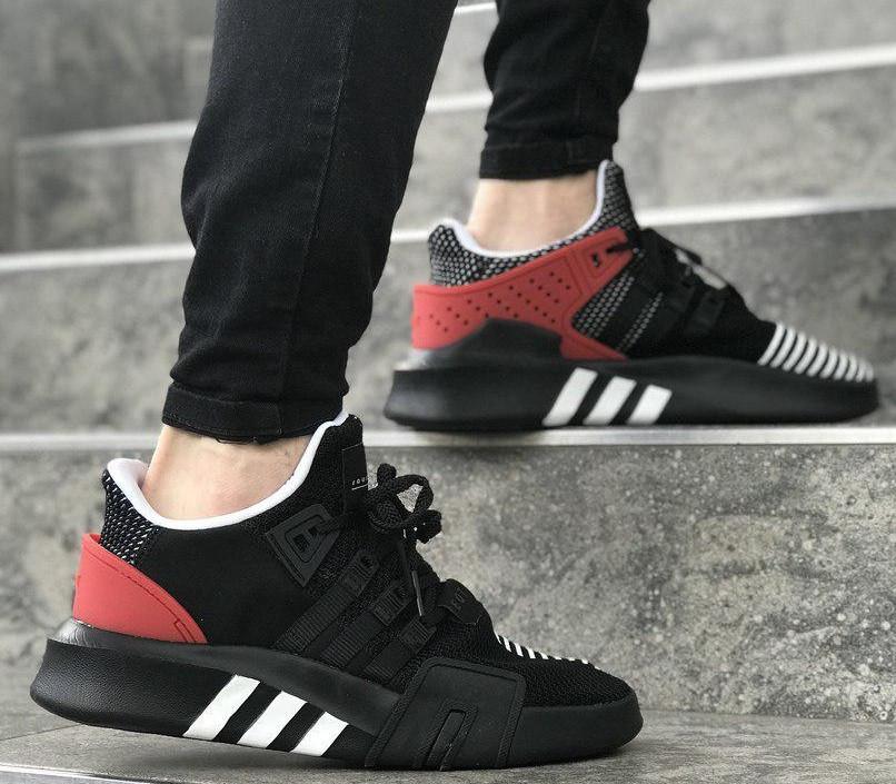 Мужские кроссовки Adidas Originals EQT Bask Adv (Black/Red/White) 40-45р. Живое фото (Реплика ААА+)
