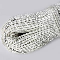 Шнур полипропиленовый бытовой Ø 4 мм (моток 100 метров) / Канат вязаный белый / Мотузка для білизни біла