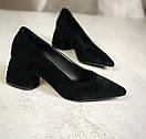 Модные женские туфли из натуральной замши на не большем каблуке, фото 2