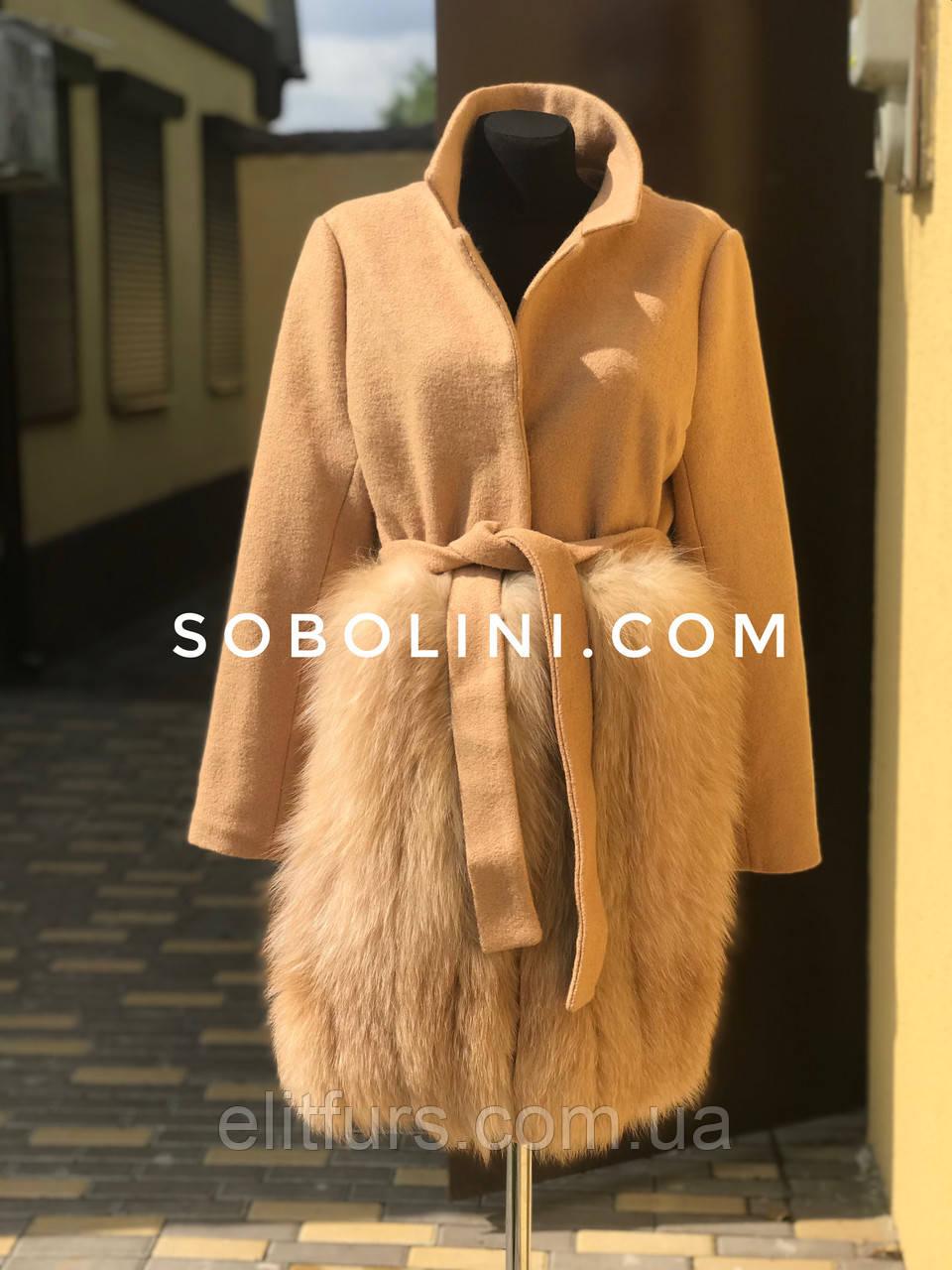 Пальто с мехом блюфроста, размер 44/46