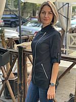 Женская однотонная куртка-китель для повара, фото 6