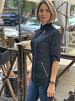 Женская однотонная куртка-китель для повара, фото 7