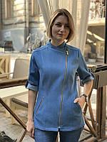 Куртка - китель джинсовый женский, униформа повара, индивидуальный пошив, все размеры