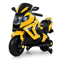 Детский мотоцикл BMW на аккумуляторе M 3681AL-6 желтый (разные цвета), надувные колеса, свет/звук, USB, MP3.