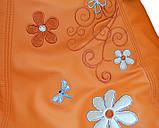 Безкаркасне Крісло мішок груша sportkreslo Ромашка Екокожа розмір S 80*100см помаранчеве, фото 3