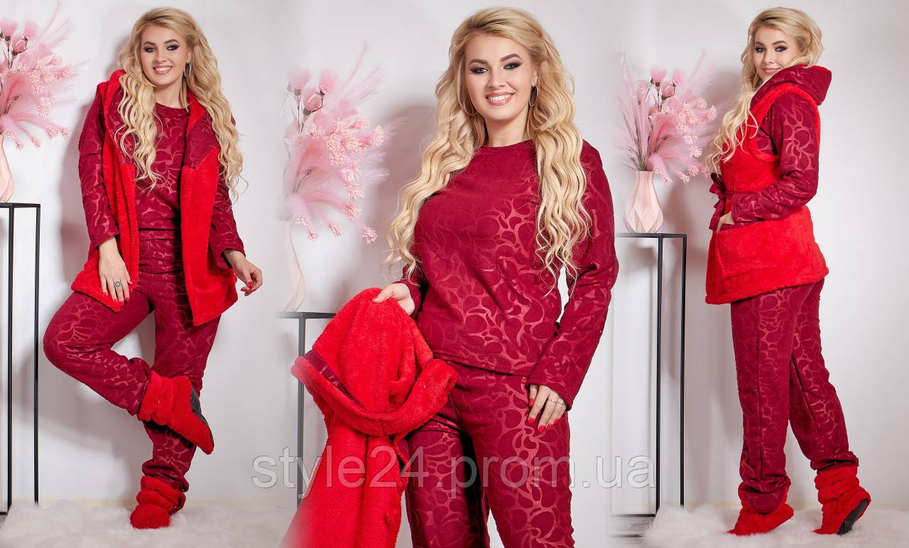 ЖІноча костюм-піжама з тапочками та жилеткою .Р-ри 42-54