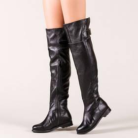 Ботфорты кожаные на плоском каблуке выше колена  размер 33-42