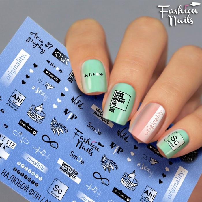Слайдер-дизайн Fashion nails - наклейка на ногти - надписи - Черно-белые слайдер дизайны
