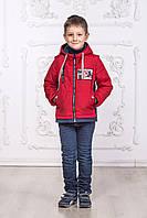 Детская куртка - жилетка для мальчика красного цвета со вставками, фото 1