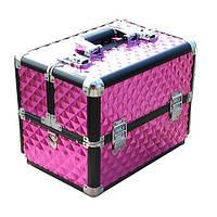 Чемодан-кейс алюминиевый 3522 розовый ромб