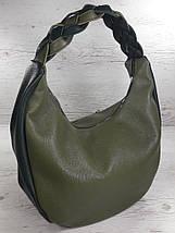 614 Натуральная кожа Объемная сумка женская зеленая Кожаная сумка-мешок Оливка кожаная сумка на плечо хобо, фото 2