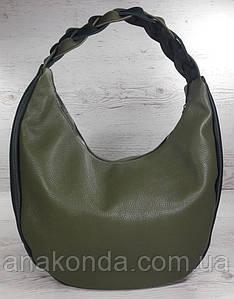 614 Натуральная кожа Объемная сумка женская Оливка Хаки Сумка-хобо Кожаная Оливковая кожаная сумка Зеленая