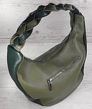 614 Натуральная кожа Объемная сумка женская зеленая Кожаная сумка-мешок Оливка кожаная сумка на плечо хобо, фото 3
