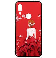 Чехол-накладка TPU+Glass Fashionable Case для Xiaomi Redmi 7 (Red Dress Girl)