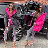 Женская двухсторонняя  куртка - пуховик батал