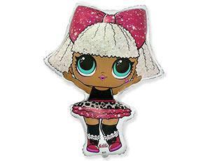 Фольгированный шар фигура Кукла ЛОЛ ДИВА  87смХ62см , FLEX METAL (ИспаниЯ )