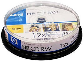 Компьютерный диск HP CD-RW 700 MB 4x-12x Cake box 10 штук