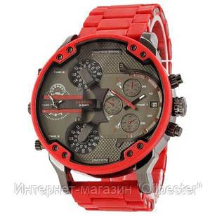Часы мужские Diesel Brave Steel красные с силиконовым ремешком