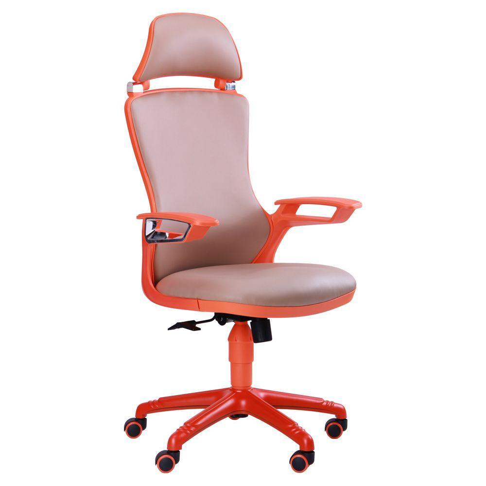 Кресло Boomer к/з хаки, каркас оранжевый