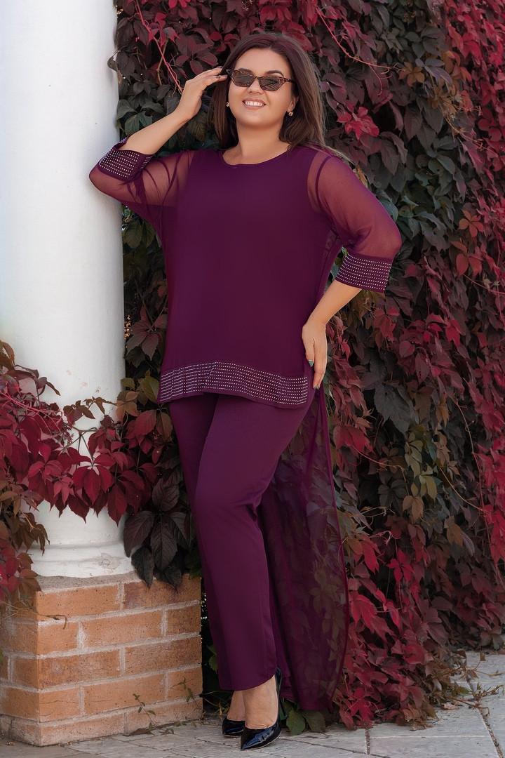 Женский бордовый брючный костюм больших размеров (48-62)