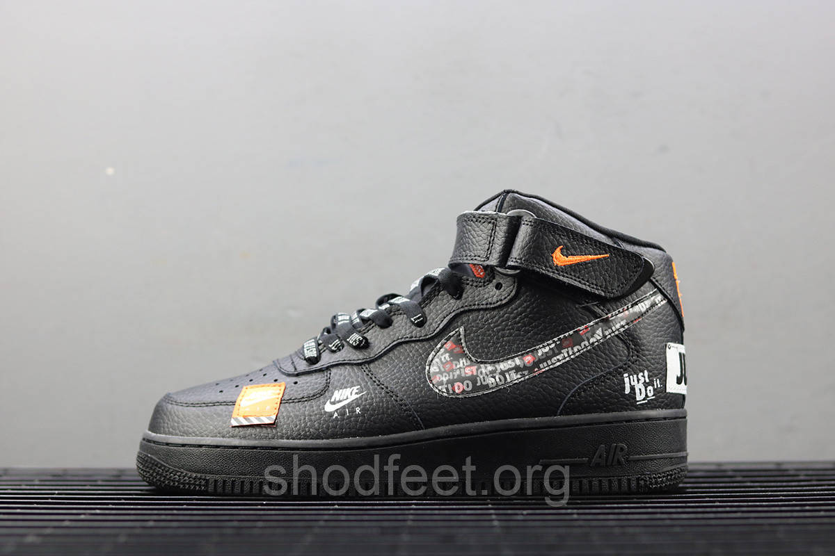 """Кроссовки Nike Air Force 1 Mid """"Just Do It"""" Black"""