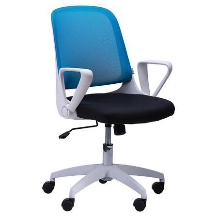 Кресло Виреон белый/сетка голубая (W-158B), фото 2