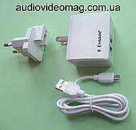 Блок питания USB 5V 2.4A, + вилка с плоскими ножками