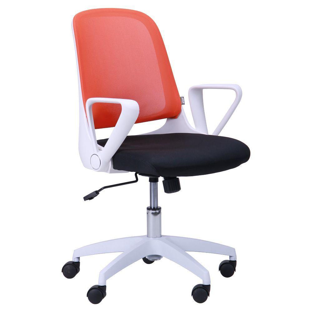 Кресло Виреон белый/сетка оранж (W-158B)