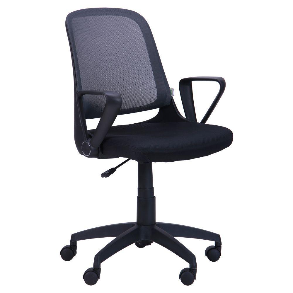 Кресло Виреон чёрный/сетка серая (W-158A)
