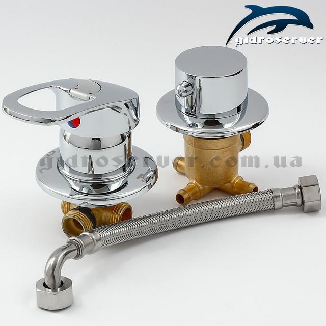 Универсальный смеситель для душевой кабины, гидробокса S3-200 на 3 режима работы дивертора-переключателя.