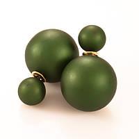 Серьги гвоздики Диор Dior зелёные матовые