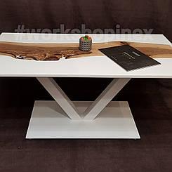 Журнальный стол из массива ореха  и эпоксдной смолы белого цвета. Размер 1190×590×25 мм. Высота 50 см