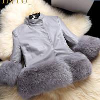 Куртка для девочки из экокожи с меховой опушкой серая