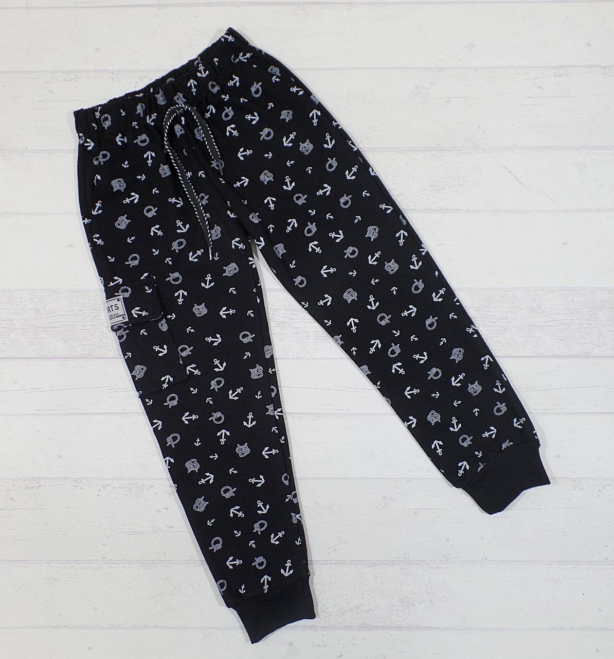 Детские трикотажные спортивные штаны, для мальчиков 6-10 лет (5 ед в уп)
