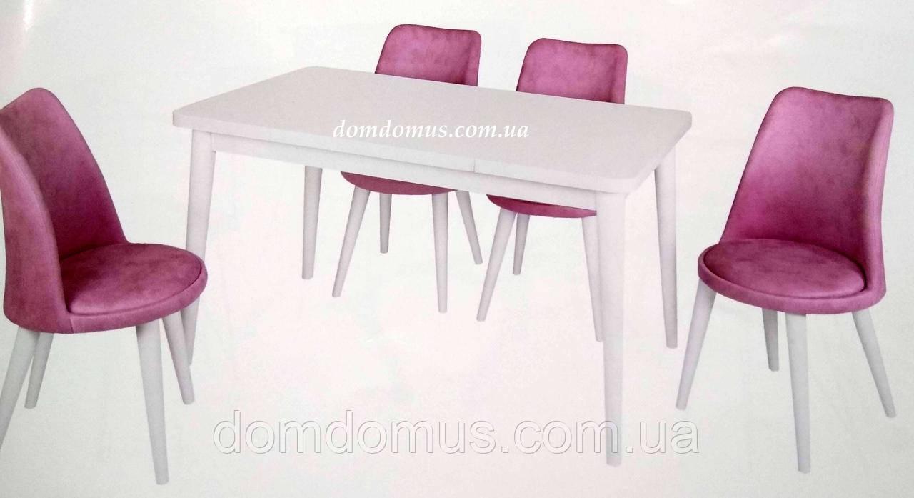 """Комплект обідній меблів """"Beyas"""" (стіл 130*75 см + 4 стільця овал м'які) Mobilgen, Туреччина"""
