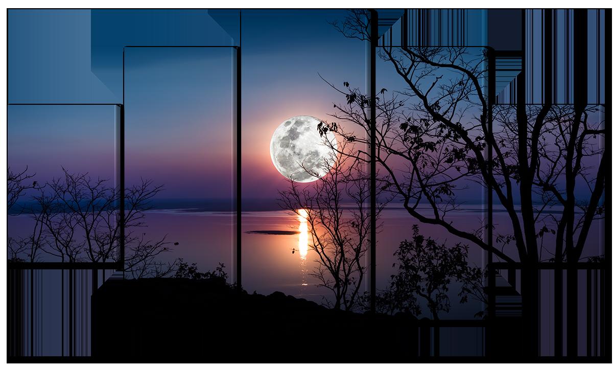 Модульная картина Interno Эко кожа Полная луна 158х90см (A3559XL)