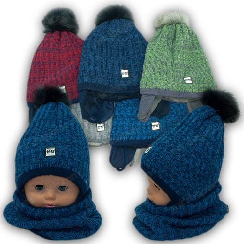 Детский комплект - шапка и шарф (хомут) для мальчика, р. 46-48