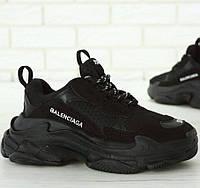 Женские и мужские кроссовки Balenciaga Triple S Black (Многослойная подошва - ТОП КАЧЕСТВО!)