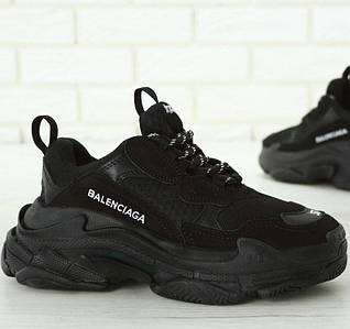 Мужские и женские кроссовки Balenciaga Triple S Black (Многослойная подошва - ТОП КАЧЕСТВО!)