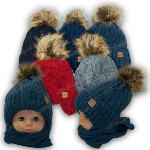 Детский комплект - шапка и шарф (хомут) для мальчика, р. 48-50