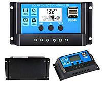 30A PWM (ШИМ) контроллер заряда солнечной панели 12/24V с ЖК-дисплеем, 2-мя USB портами, фото 1
