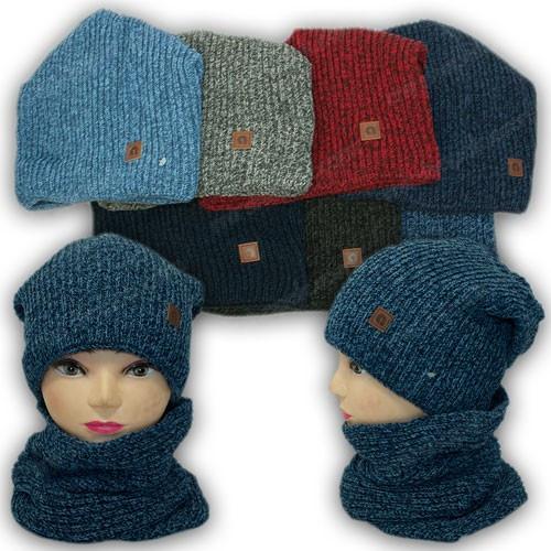 ОПТ Детский комплект - шапка и шарф (хомут) для мальчика, р. 52-54 (5шт/набор)