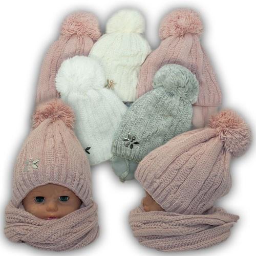 Детский комплект - шапка и шарф (хомут) для девочки, р. 50-52