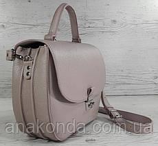 582 Натуральная кожа Сумка женская бежевая пудровая Кожаная сумка бежевая сиреневая кожаная сумка кожаная, фото 2