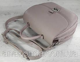 582 Натуральная кожа Сумка женская бежевая пудровая Кожаная сумка бежевая сиреневая кожаная сумка кожаная, фото 3