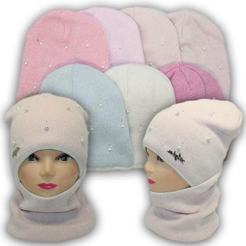 Детский комплект - шапка и шарф (хомут) для девочки, р. 52-54